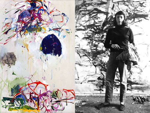 Painting, Left; In her studio, right.