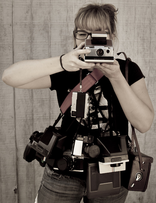 Mariah Channing & her film camera collection.